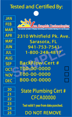 Backflow Tags - multicolor 1 side, STYLE A