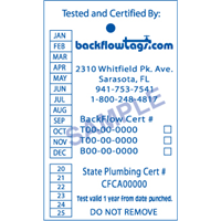 Backflow Tags - 1 color 1 side, STYLE A