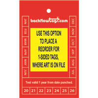 Backflow Tags- 1 color, 1s, CUSTOM or REORDER