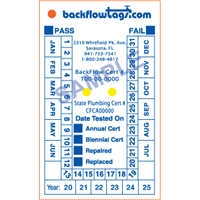 Backflow Tags - 1 color 1 side, STYLE D