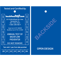 Backflow Tags - 1 color 2 sides, STYLE B